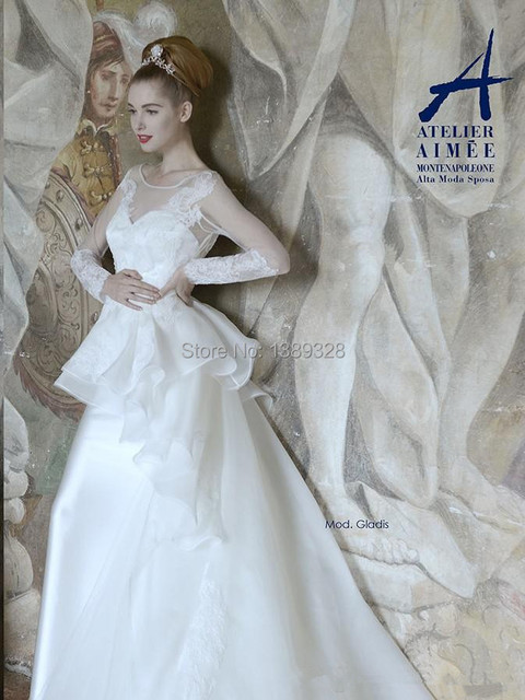 2014 New Wedding Dresses A-line Scoop Long Sleeves Lace Appliques Peplum Floor-length Organza Satin Bridal Gowns