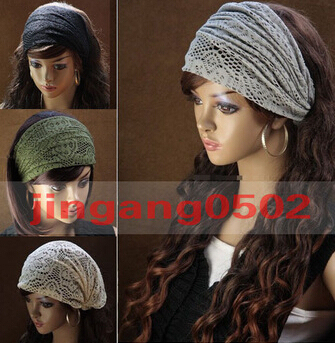 2015 New Stretchy Wide Lacy Head Band for Girl and Woman Hair Wide Turban Headwrap Women Bandanas Headband 1pc