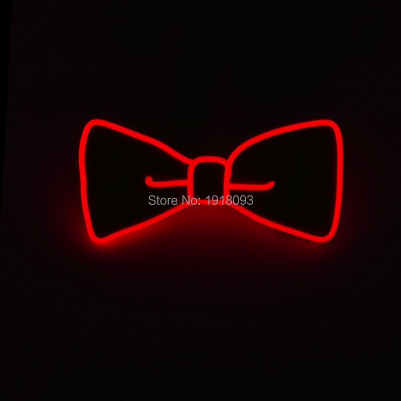 Holiday Lighting EL Wire Glowing Bow Tie Neon glow light Flash Color Red Party LED Bow Tie with DC-3V Steady on Driver
