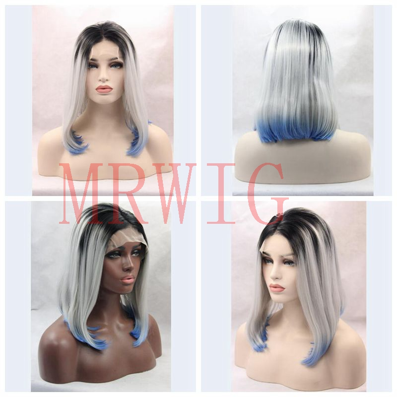 MRWIG short bob straight 12in ombre grey/blue synthetic glueless front lace wig 3tone for african americans middle part
