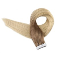 Full Shine Tape Hair 100g Ombre Color 6 Brown Fading To 613 Blonde Remy Human Hair 40 Pieces Tape In Hair Extencao De Cabelo