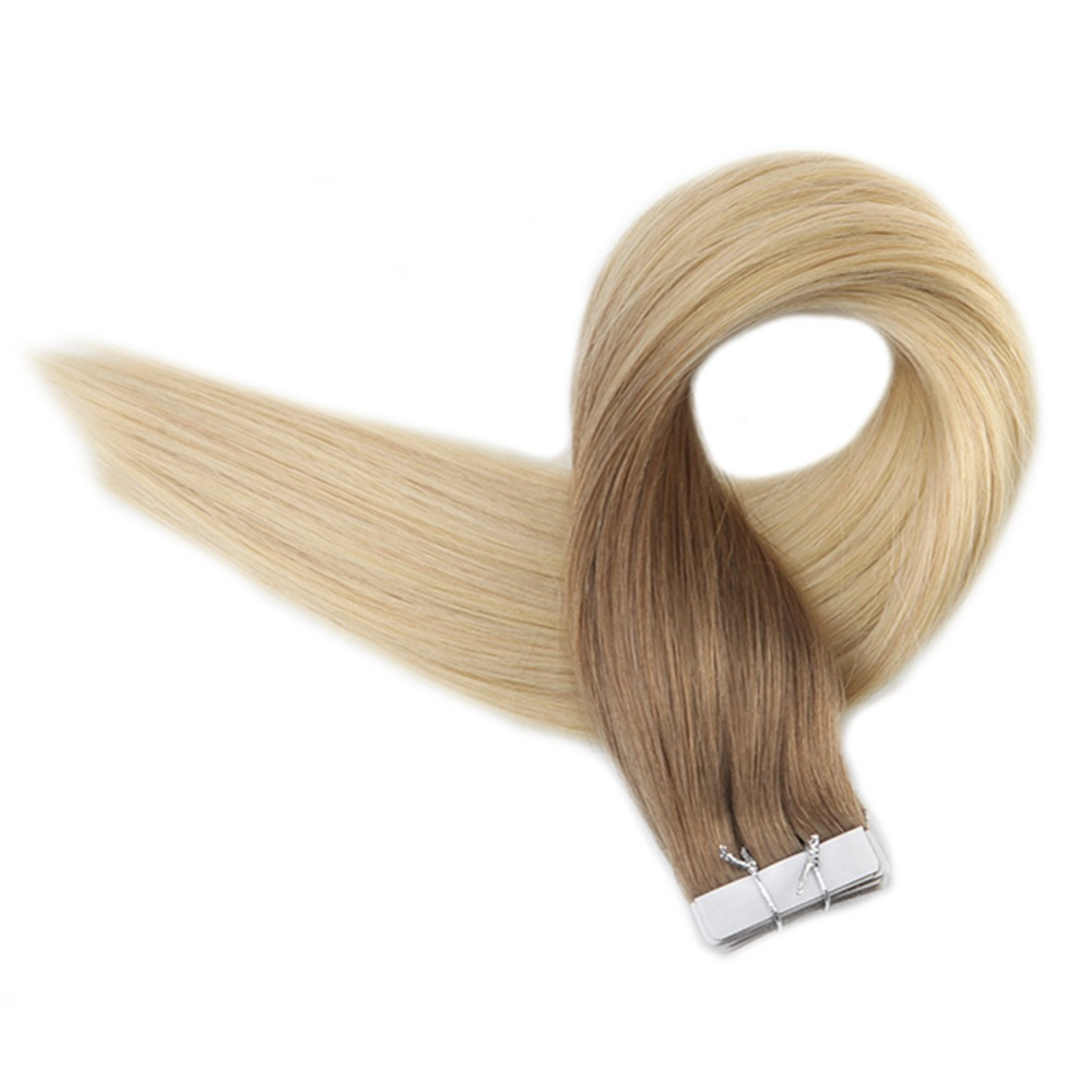 Full Shine Tape Hair 100g Ombre Color #6 Brown Fading To #613 Blonde Remy Human Hair 40 Pieces Tape In Hair Extencao De Cabelo