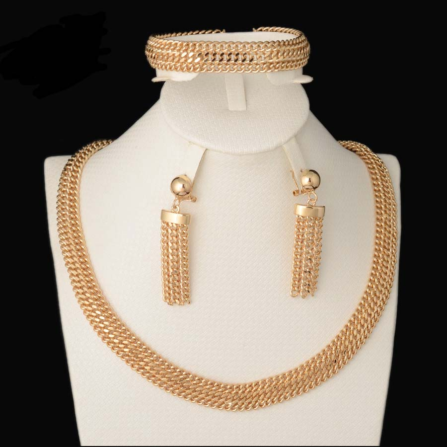 Fashion high quality Gold Plated Jewelry Set Italy 750 gold Earrings Necklace Bracelets Set 3color Wedding Party set