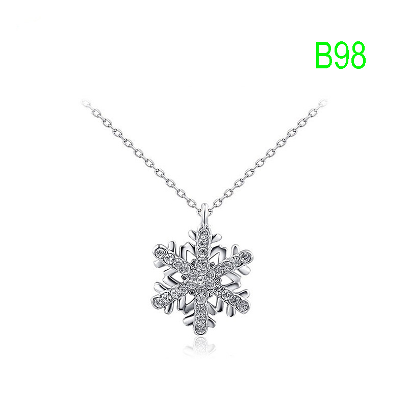 B98 Classic Necklace have silver gold rose color to choose pink light blue sky blue heart
