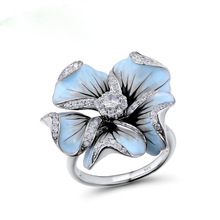 Cute Silver Blue Epoxy Flower Rings with Zircon Stone for Women Wedding Engagement Ring Fashion Jewelry 2019