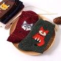 Meias das mulheres do vintage marca retro padrões animais coelho meias de lã outono inverno lobo raposa bonito dos desenhos animados meias de algodão quentes