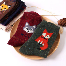women vintage socks brand retro animals patterns rabbit wool socks autumn winter cute cartoon fox wolf