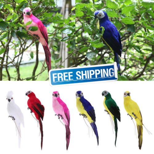 Home Decor Handmade Six Color Parrot Animal Bird Lawn Figurine Ornament Yard Statues Sculptures