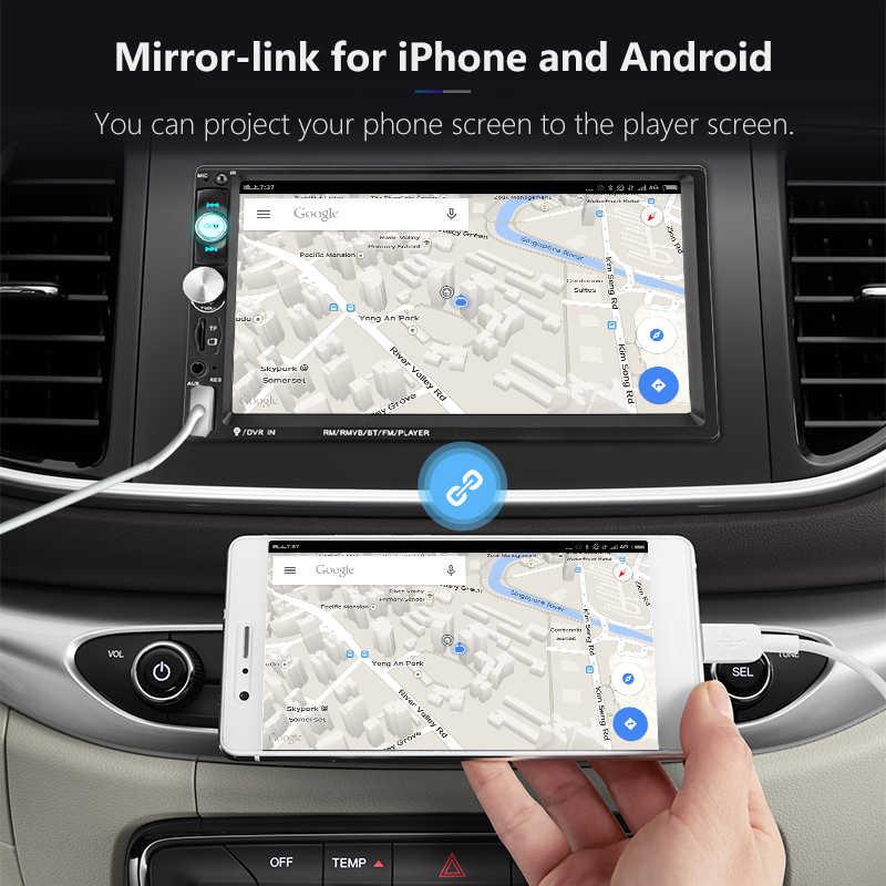 """JMCQ 7 """"Radio samochodowe MP5 odtwarzacz z 8 LED światła do tworzenia kopii zapasowych kamera/aparat ekran dotykowy samochodowy odtwarzacz multimedialny 2 Din KIEROWNICA kontroli"""