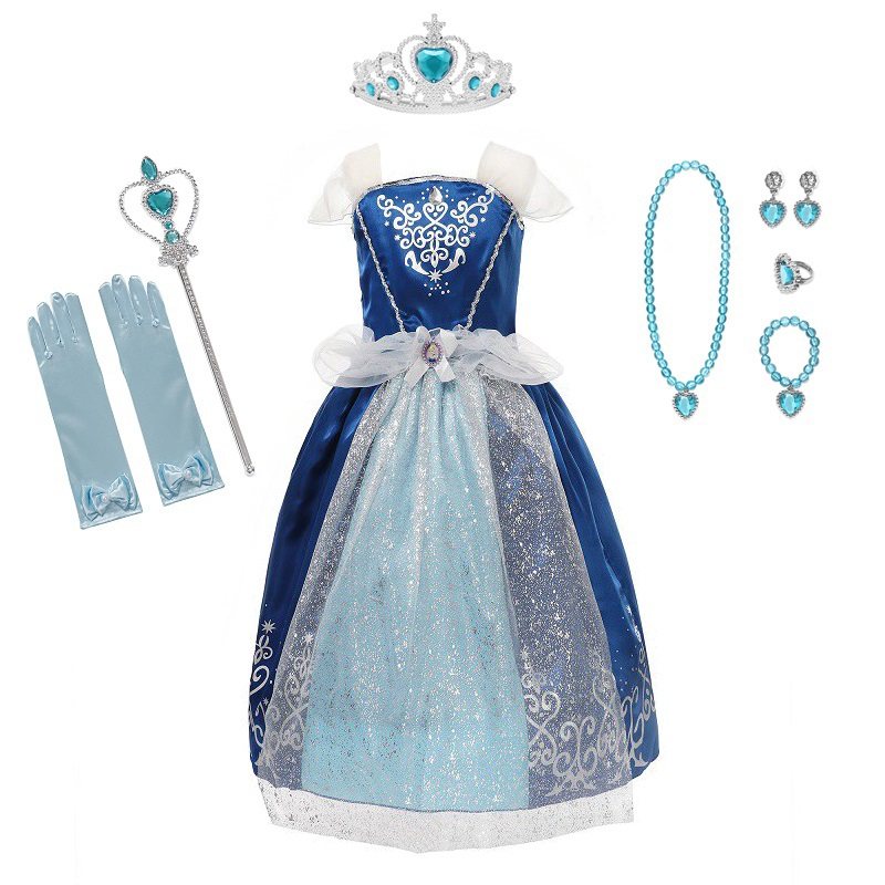 VOGUEON Cinderella Girl Princess Costume Children Sleeveless Cinderella Fancy Cosplay Dress Up Clothes Kids Halloween Party Gown
