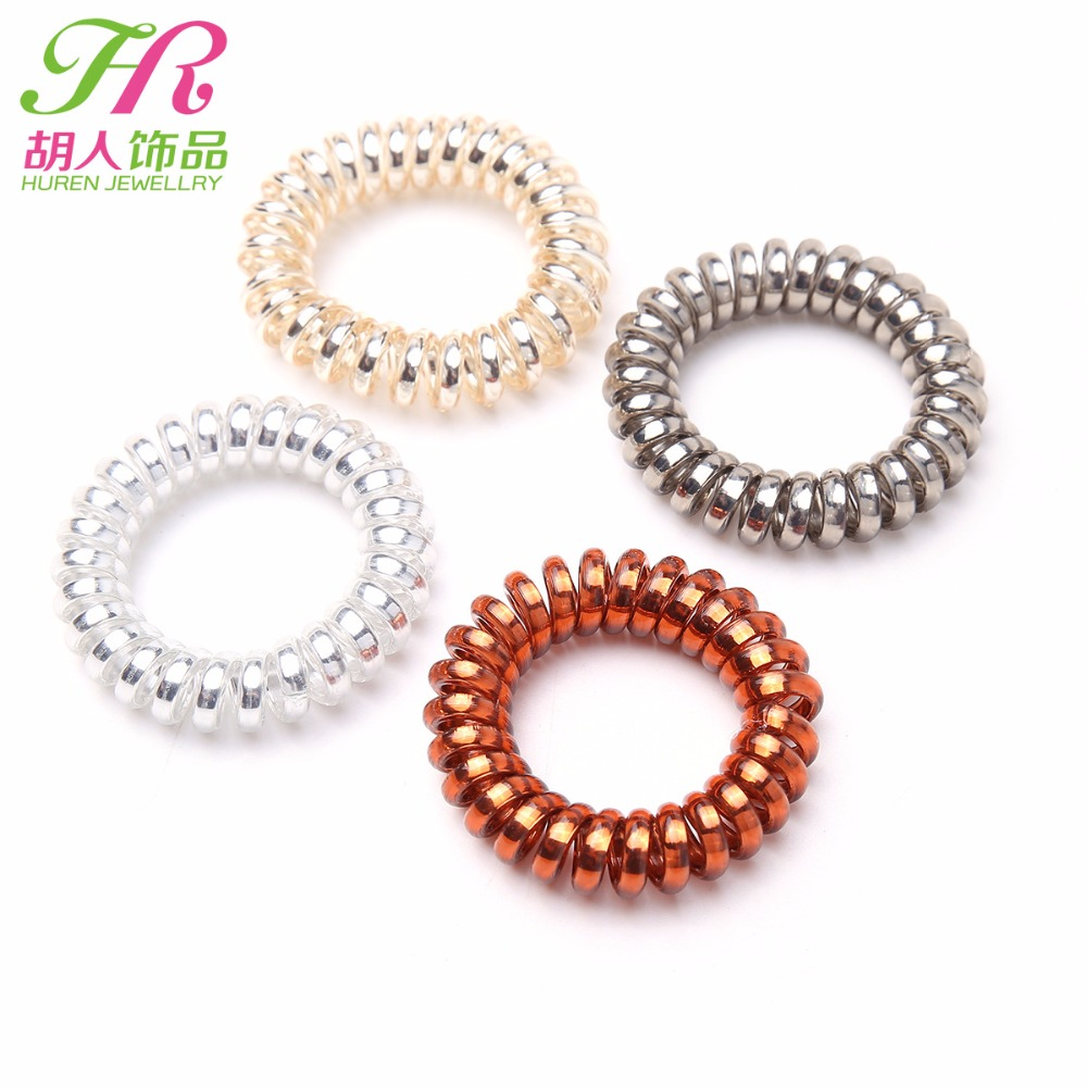 Top selling Elastic Hair Bands Girls Hair Accessories Rubber Band Headwear Hair Rope Spiral Shape Hair Ties Gum Telephone Wire 2pc fruit slice multi patterns girl women elastic rubber bands hair clips headwear tie gum holder rope hairpins hair accessories