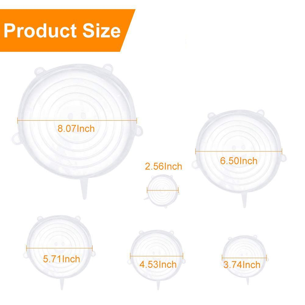 Image 2 - Silicone Stretch Lids, 12 Pack to Keeping Food Fresh, Reusable, Durable and Expandable to Fit Various Sizes for Bowl Covers, P-in Fresh-keeping Lids from Home & Garden