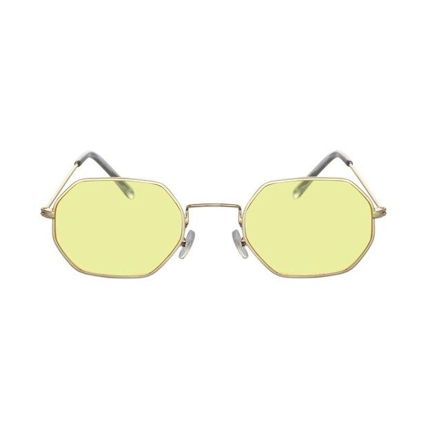 Gafas de sol hexagonales de color amarillo para mujer, anteojos de sol femeninos clásicos de diseñador de marca Retro, de lujo, con espejo 3