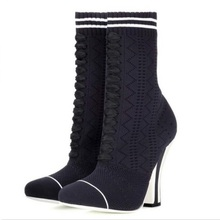 women sock boots autumn women knitting boot mid-calf elastic boots socks square heel mixed color fashion boot цены