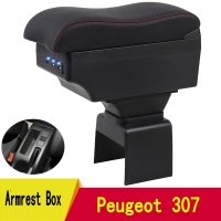 For Peugeot 307 armrest box central Store content box with cup holder ashtray decoration products With USB interfac