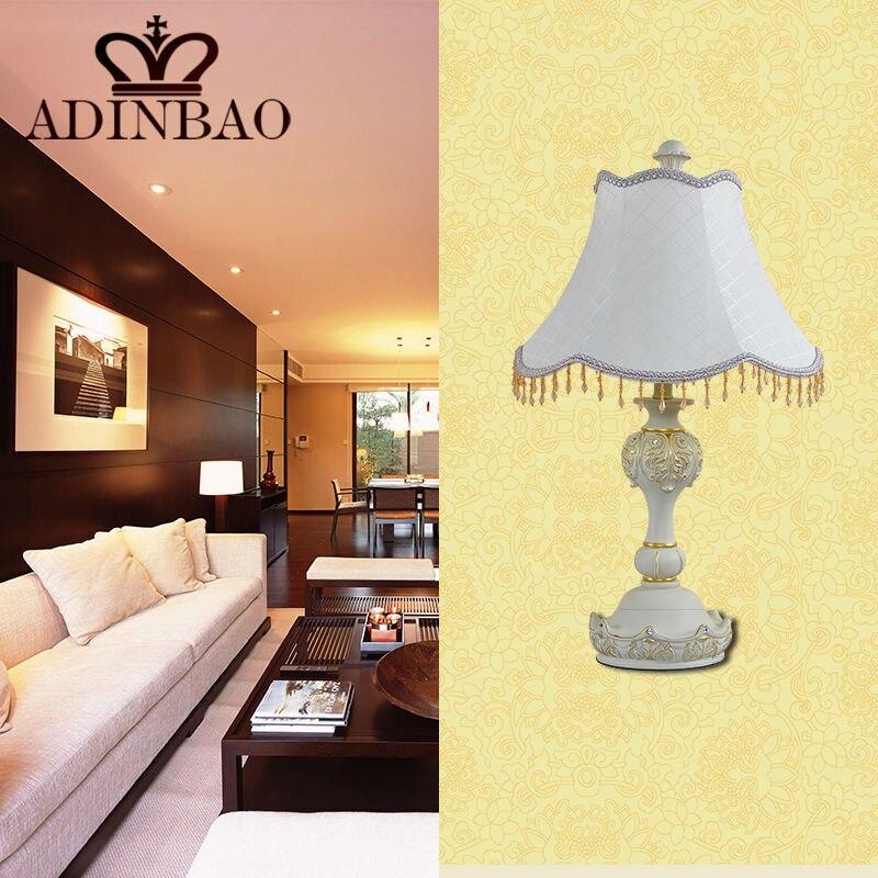 Table Lamps For Living Room Fionaandersenphotographycom: Europea Fabric Table Lamp Decorative Resin Desk Lamp E27