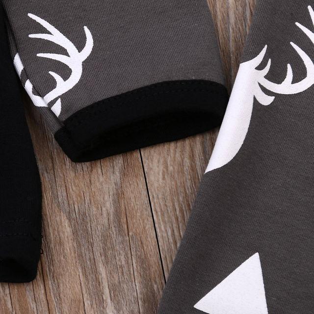 2017 Autumn Cute Newborn Baby Girl Boy Clothes Deer Tops T-shirt Long Sleeve + Pants Casual Hat Cap 3pcs Outfits Set Autumn