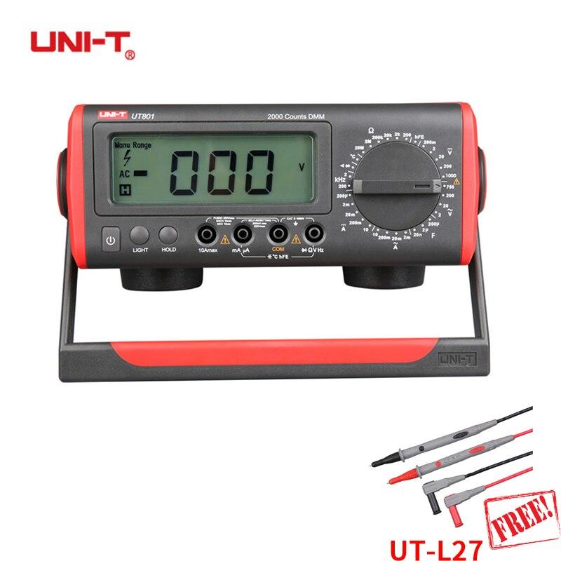 UNI-T UT801 LCD Desktop Digital Multimeter High Precision Manual Multimeter Resistance Capacitance / Frequency 1000V 10A 1 GIFT цена