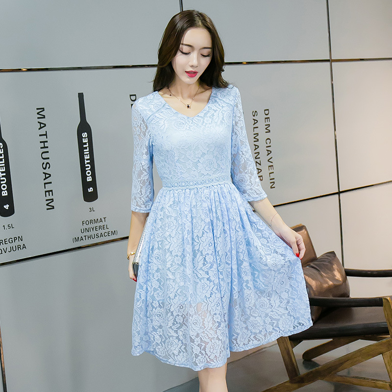 product New2017 Fashion Women plus size elegant pinched waist Lace ball gown Dress cultivating party Dress cute dress vestidos XXXXL3973