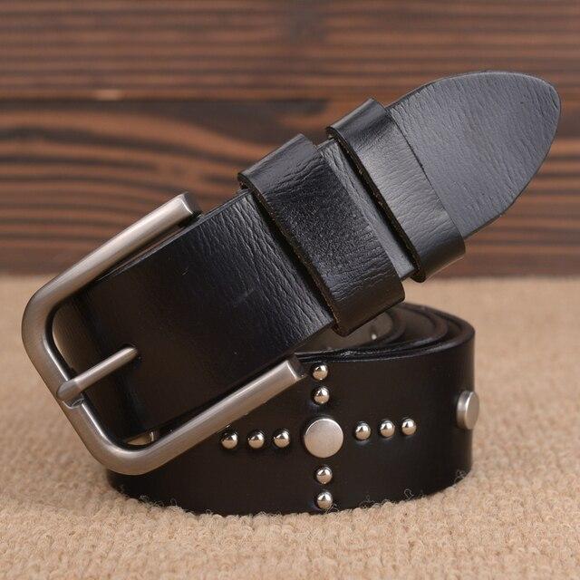2016 Novo Estilo de Moda Designer de Luxo Cintos de Rebite Homens Cintos Masculino Cintura Strap 100% Couro Genuíno Pin Buckle Belt