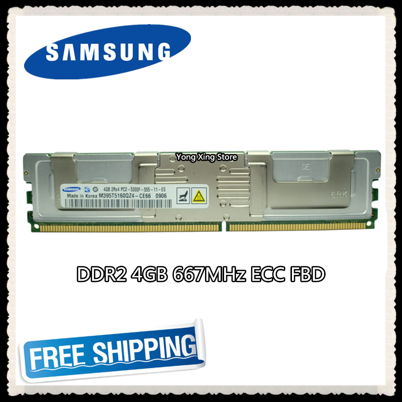 Samsung <font><b>DDR2</b></font> <font><b>4GB</b></font> 8GB <font><b>667MHz</b></font> Server memory PC2-5300F ECC FBD FB-DIMM Fully Buffered RAM 240pin 5300 4G 2Rx4 image