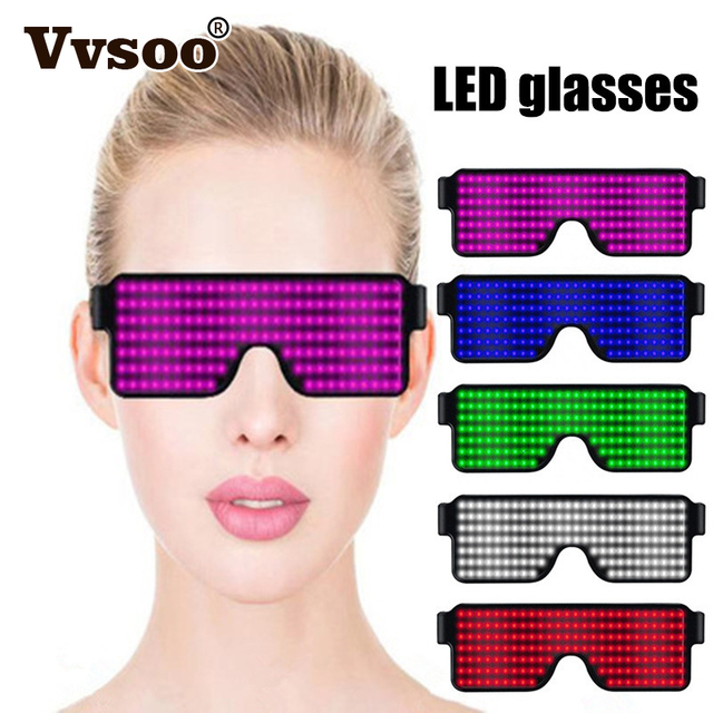 Vvsoo 8 Modes Quick Flash Led Party Glasses USB Charge Luminous Christmas Concert Light Toys Birthday Decorations