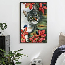 Meian Наборы для вышивания крестиком 14CT ленивый милый кот Картина из хлопковой нити Сделай Сам Рукоделие DMC новогодний домашний декор VS-0140