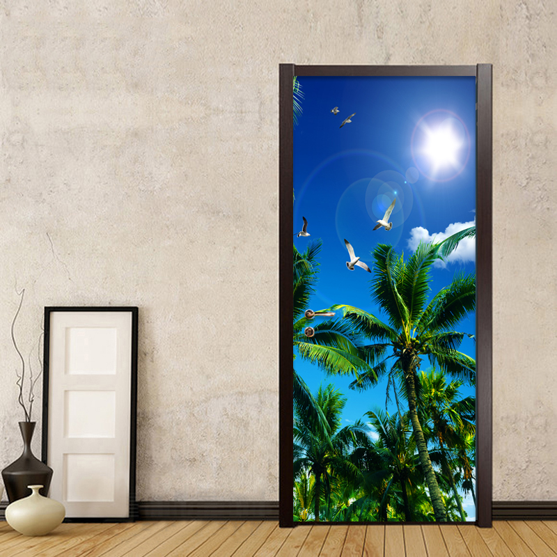 HD Blue Sky Coconut Palm Photo Wallpaper Living Room Bedroom Home Decor Door Mural PVC Self Adhesive Waterproof 3D Wall Sticker 2 sheet pcs 3d door stickers brick wallpaper wall sticker mural poster pvc waterproof decals living room bedroom home decor