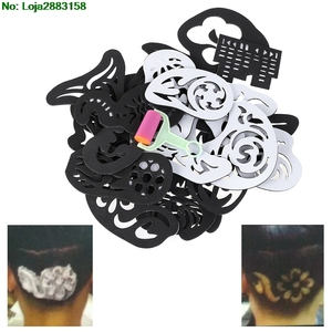 Image 3 - 25PCS Hair Tattoo Template Hair Trimmer Carved Coloring Cool Hairstyling Tool