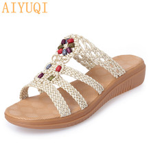AIYUQI Women slippers flat 2019 new summer women sandals casual large size 41 42 43 wedge fashion shoes Summer footwear