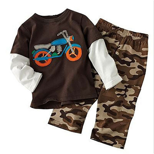 18M-5T Boys Clothing Sets Stitching Color Tops + Camo Trousers Boys Clothing Two Pcs Kids Clothing Sets Autumn Children Clothing