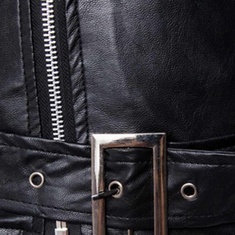CYSINCOS 春の秋のファッションオートバイのジャケット革モトジャケット男性スラッシュジッパーラペルバイカーライダーフェイクレザーコート
