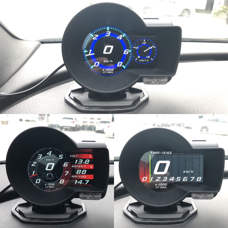 Profession Magician OBD Head Up Display Car Digital Boost Gauge Voltage Speed Meter ect Water Temp