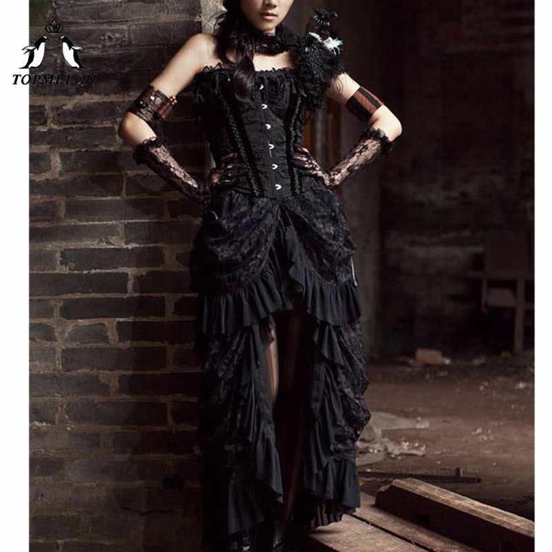 TOPMELON Готический стимпанк длинные юбки женские Винтаж оборками Макси юбка одноцветное шоу танец представление костюм