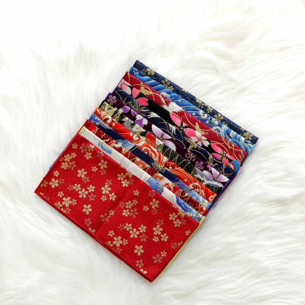 Japanese Style And Wind Pocket Towel CottonHand Made Fabric Satin Bronzing Butterfly Waves Cherry Blossom Handkerchief