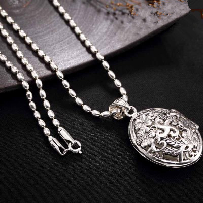 2018 nouveau 925 collier en argent avec pendentifs hommes vintage chaîne boîte pendentifs en argent sterling