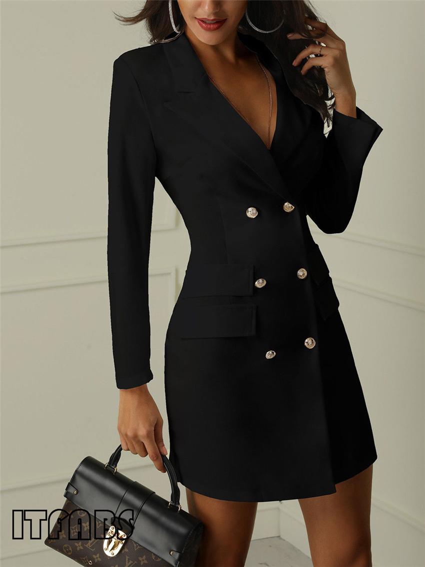 Women business Sexy Casual outwear women slim Button business dress women 8