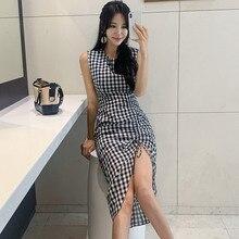 women korean elegant plaid maxi dress tank sleeveless O-neck female sexy asymmetrical wrap dresses mid-calf length vestidos