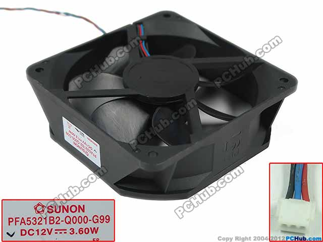 Free Shipping For SUNON PFA5321B2-Q000-G99 DC 12V 3.60W 3-wire 3-pin  Server Square fan free shipping for sunon kd1212pmb1 6a dc 12v 6 8w 3 wire 3 pin connector 110mm 120x120x38mm server square fan