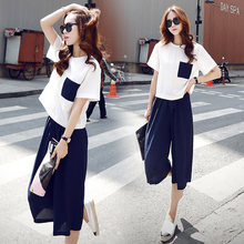 Summer Style 2 Piece Set Women Tops Shirt Knee Length Pants Office Costumes Women Sets Loose Female Suits(China)