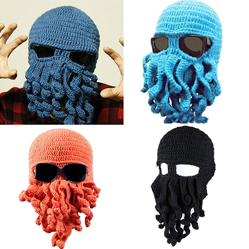 Fashion Creative Tentacle Octopus Knit   Beanie   Hat Cap Wind Halloween Mask