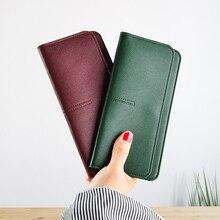 Купить с кэшбэком AOEO long women wallets clutch Super Slim Purses ladies thin wallet 5 Color Green Black Pink Gray Red purse for girls Female