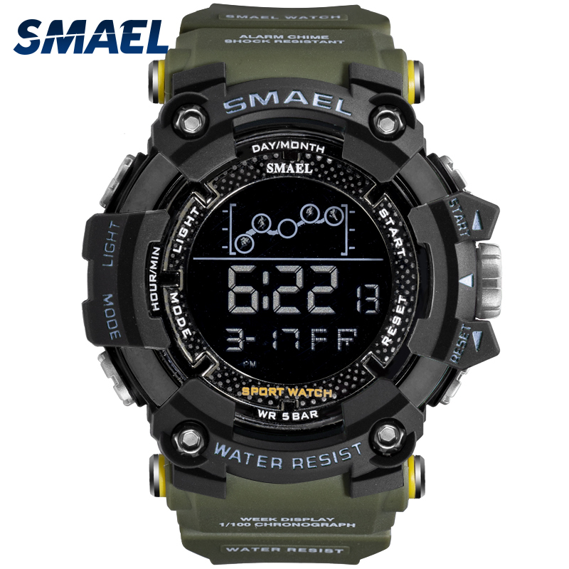 Waterproof Chronograph Digital Watch For Men Fashion Outdoor Sport Wristwatch Top Brand SMAEL Men's Watch Alarm Clock