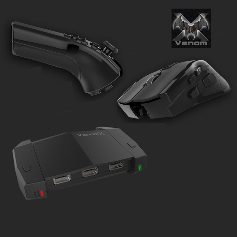 Venom X wireless gaming mouse left hand wireless gaming controller USB keyboard mouse adapter for PS4/Xbox 360/PS3/Xbox one