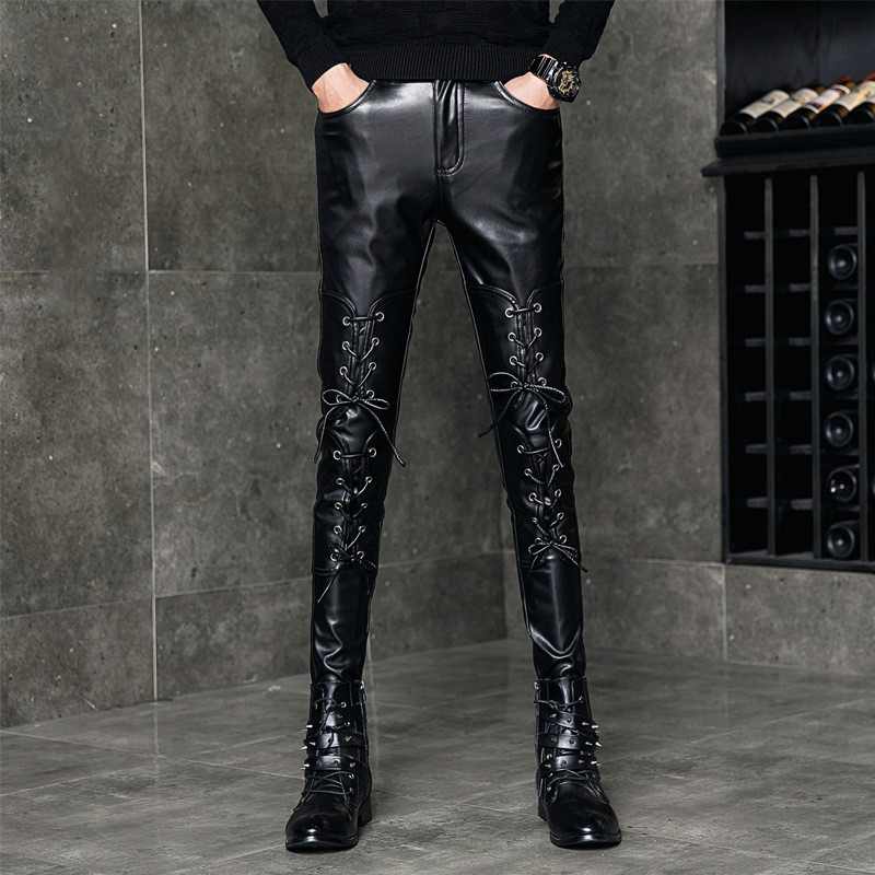 New Fashion Men/'s Soft Leather Pants Motorcycle Slim Punk Black Trousers Casual
