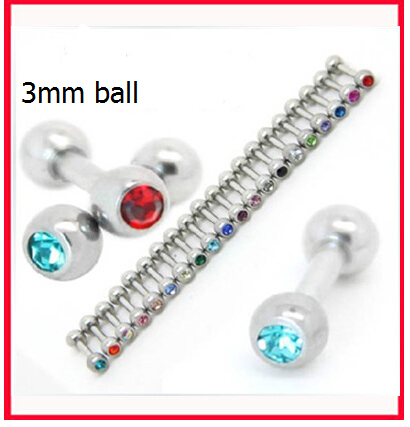 rhinestone 3mm ball dumbbell earrings tongue nail tragus plugs tunnels piercing jewelry titanium earring for lady sexy hot 11pcs