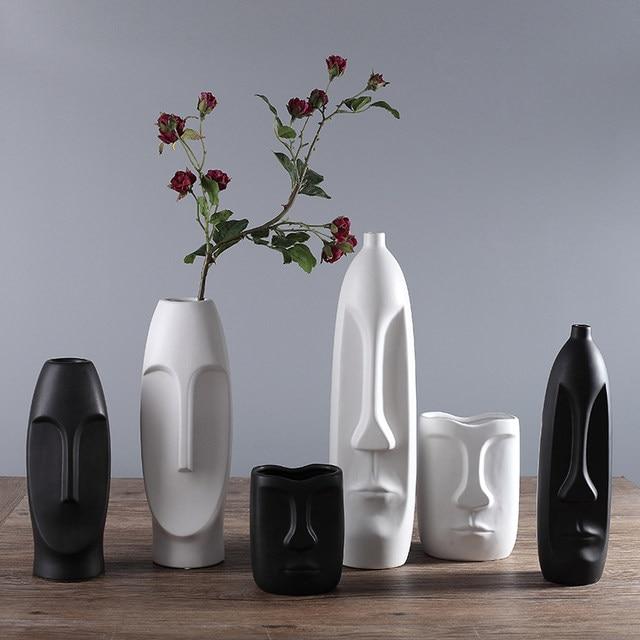 Online shop chinese modern ceramic vase for wedding decoration home chinese modern ceramic vase for wedding decoration home decor living room decoration porcelain vase figure head shape vase junglespirit Gallery