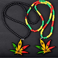 Red Yellow Green Hemp Leaf Badge Fashion Pendant Car Styling JDM Rearview Mirror Ornament Hip Hop Charm Beads Jewelry Necklace