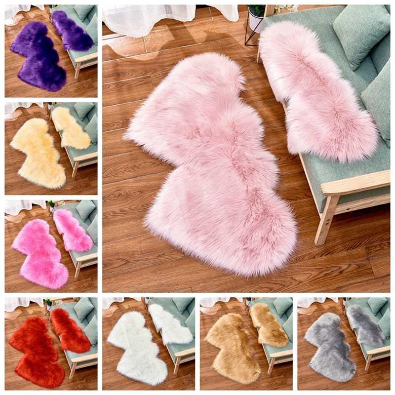 Doble amor corazón lana piel Artificial piel de oveja alfombra peluda dormitorio sala de estar decoración rosa azul suelo alfombra suave área peluda alfombras