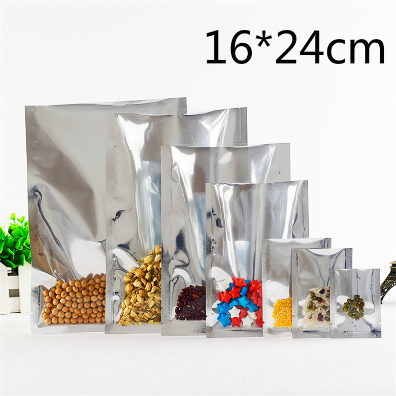 50 Pcs/Lot 16*24cm Silvery Vacuum Pouches Aluminum Foil Clear Poly Bags Open Top Heat Sealable Tea Powder Storage Packaging Bag